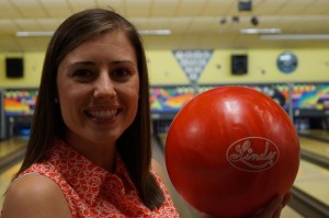 Amanda getting ready to bowl.