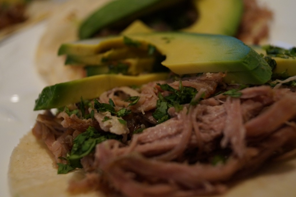 Homeade tacos made with carnitas, cilantro, and lime. They were delicious.